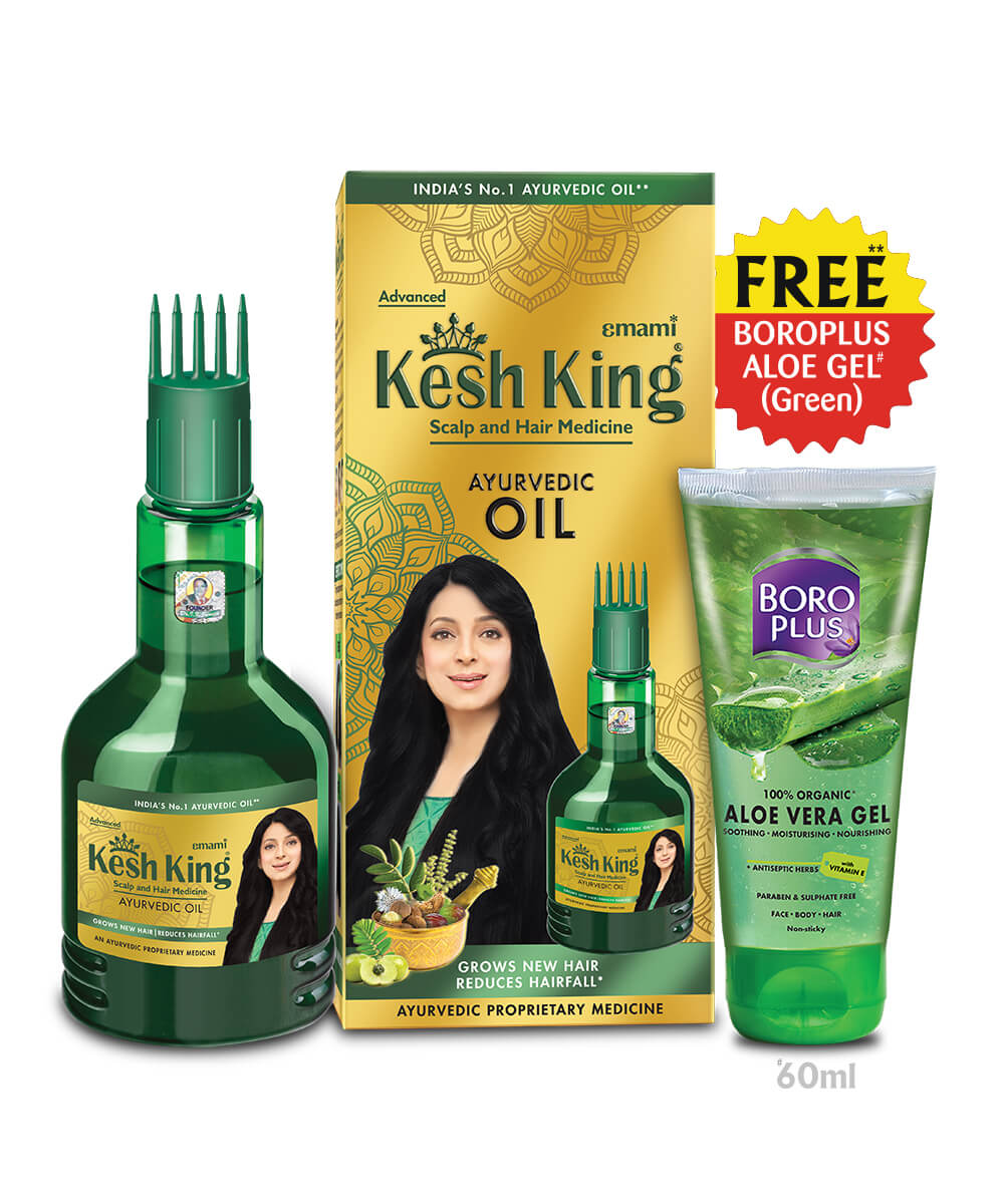 Kesh KingAyurvedic Medicinal Oil 100ml – BoroPlus Aloe Gel 60ml FREE